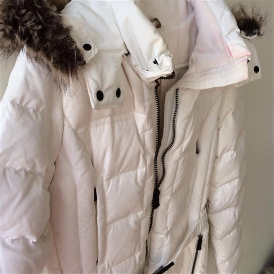 Zara White Puffer Jacket Quilted Fur Coat Size 8 M Tradesy