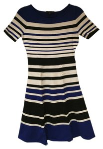 BCBGMAXAZRIA short dress Black, White and Blue Bcbg Max Azria Stripes on Tradesy