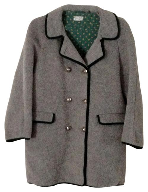 Max Hurni Vintage Wool Rare Austria Size 44 Silver Buttons Jacket Womens Ladies Pea Coat