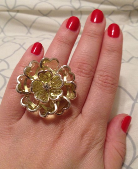 Other Adjustable Cocktail Ring w/ Large Green Flower