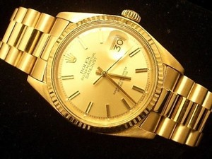 Rolex Men Rolex Solid 18k Yellow Gold Datejust Wchampagne Dial President Style Band