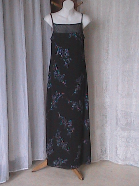 Annected Apparel short dress Black with Blue Glitters Spaghetti Style Flower on Tradesy