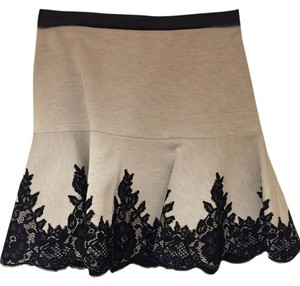 Robert Rodriguez Lace Leather Mini Skirt Black and Gray