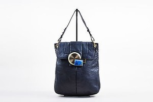 Marc Jacobs Navy Leather Stone Medallion Beale Tote in Blue