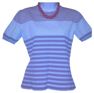 Prada #prada #pradatop #workplace #businesscasual #wrinklefree Top Grayish.. powder blue, white, & crimson stripes