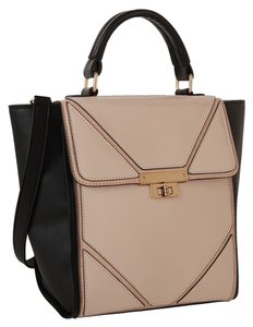 Melie Bianco Crossbody Patent Tote in nude