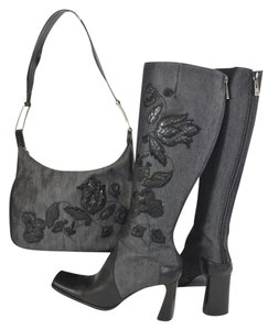 Claudia Ciuti Purse Matching Made In Italy Leather Gray/Black Boots