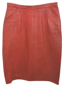 B.A.LEATHER Leather Penicl Skirt RED