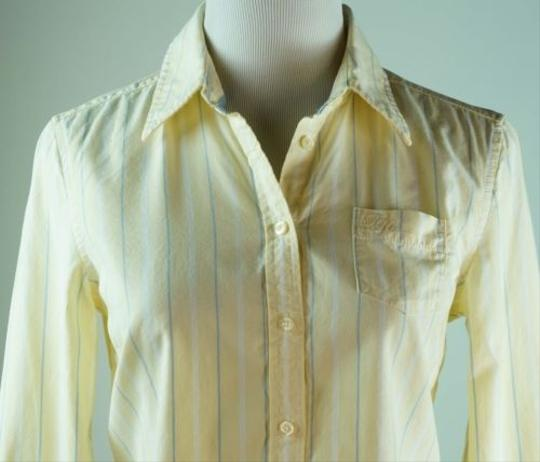 Tommy Hilfiger Button Down Shirt Yellow Blue Altered To Be Fitted on sale