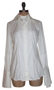 Robert Rodriguez Tuxedo Career Cuffed Double Button Down Shirt WHITE