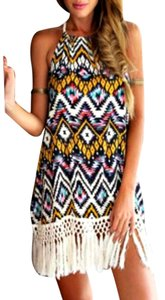 Romwe short dress Geometric multicolor Halter Fringe Tassel Boho on Tradesy