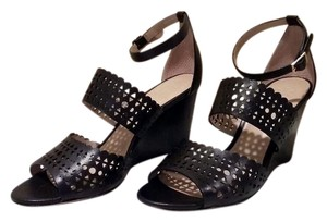 Tory Burch Sale Perforated Sandals Gladiator Black Wedges