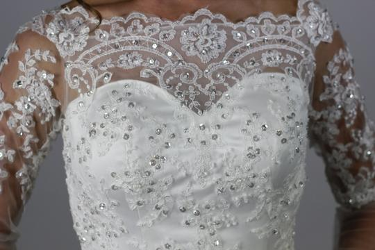 White Satin Lace Handmade A-line New Arrival Dubai Appliqued Bridal Gown Boat Neck Long Sleeve Wedding Dress Size 4 (S)