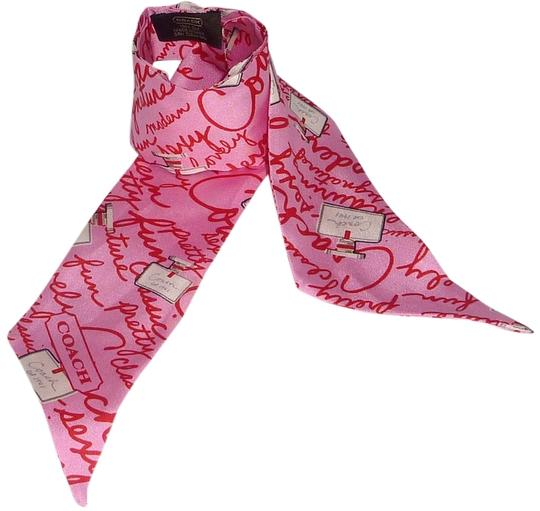 """Coach New AUTHENTIC COACH """"Perfume Print"""" Multi color Pink Silk Pony scarf"""