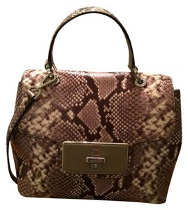 Michael Kors Python Emery Embossed Leather Satchel in Natural