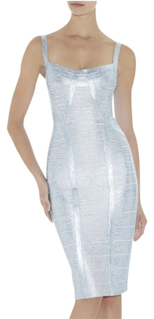 Item - Icy Grey Blue Silver Foilage Metallic Judith Mid-length Cocktail Dress Size 4 (S)
