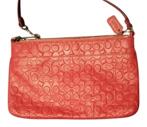 Coach Leather Wristlet in Sunset Red