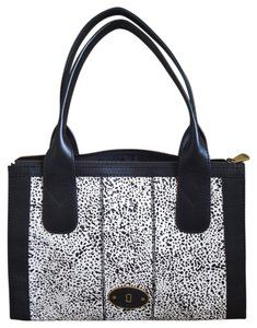 Fossil Brand Vintage Leather Haircalf Black Leather White Haircalf Tote in black/white