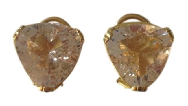Item - Gold and White Topaz In Yellow Clip-on Backs Earrings
