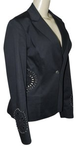 Royal Underground Cutout Studded Embellished Beads With Pockets Sz L Black Blazer