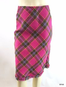 Corey Lynn Calter Plaid Fringe Gold Rivet Hem Skirt Pink