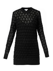 Helmut Lang Corded Lace Mohair Silk Sheer Sweater