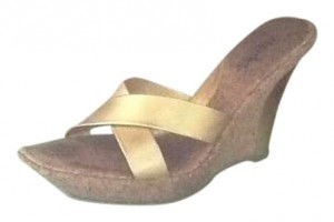 Charles David Cork Heel Like New Gold metal leather Wedges