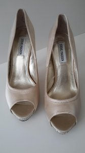 Steve Madden Tan 79% Off New Satin with Crystals Across The Front Platforms Size US 9.5 Regular (M, B)