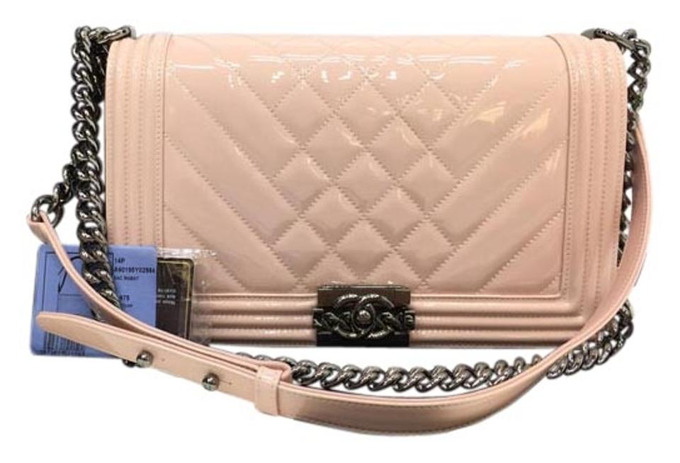 a5fca3d2a9 Chanel Classic Flap Boy Medium Quilted Le Patent Leather Shoulder ...