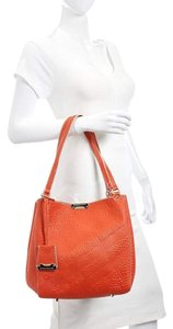 Burberry Leather Pouch Tote in Orange