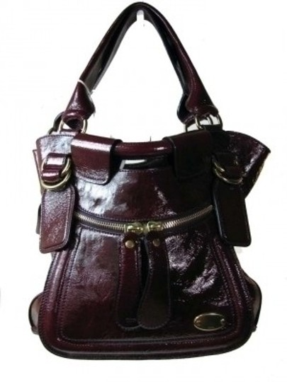 Chloé Burgandy Violet Bleach Out Python Handbag Brass Hobo Bag