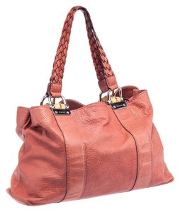 Gucci Leather Bamboo Bar Braided Handle Tote in Burnt Orange