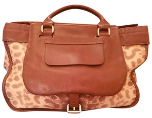 Longchamp Animal Print Satchel in Brown cream iguana