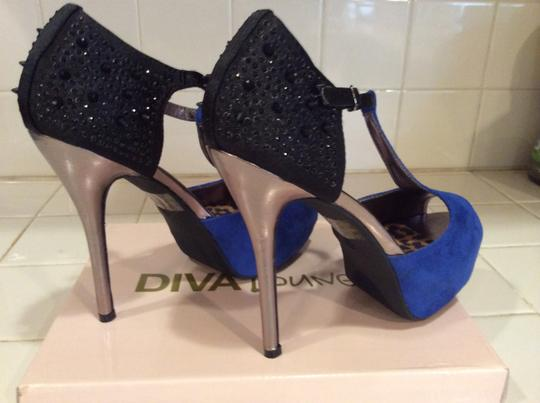 Diva Lounge T-strap Studded Sequins; Silver Stiletto Heels Leopard Covered Insole; Non Skid Soles Royal Blue with Black Pumps