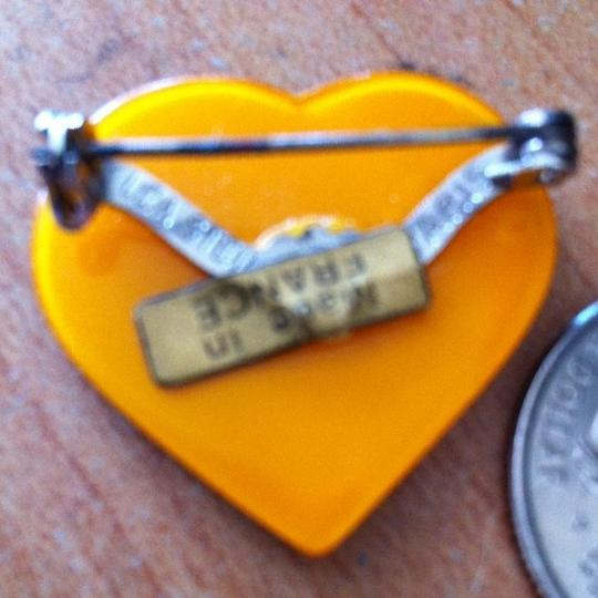 Lea Stein Collectible Cellulose Acetate Vintage Heart Brooch