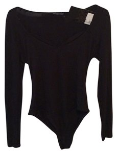 Missguided Bodysuit Essential Longsleeve V-neck Top Black