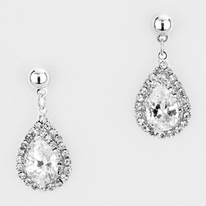 Elegant Cz Crystal Droplet Sparkly Bridal Earrings