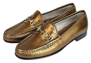 Gucci 1953 Soft Leather Horsebit Bronze Flats