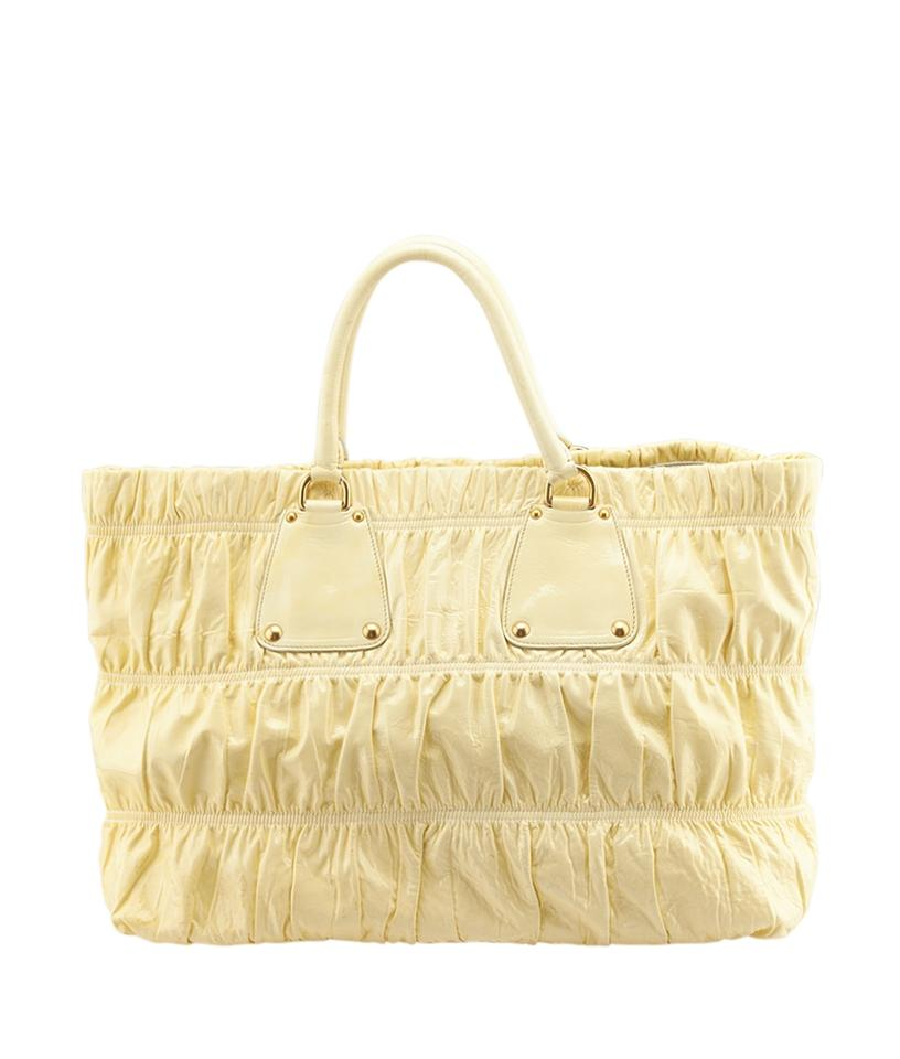 prada patent leather-trimmed tote