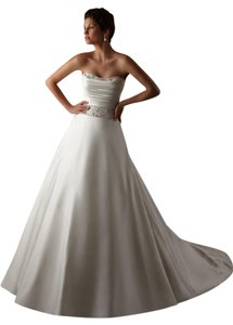 Mori Lee Ivory Satin Beading 5274 Traditional Dress Size 6 (S)