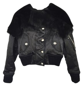 Alexander Wang Fur Shearling Metallic Bomber Fur Coat