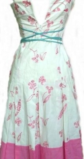 Pink, white and teal Maxi Dress by BCBGMAXAZRIA