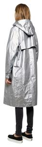 T by Alexander Wang Metallic Rain Coat Full Length Silver Jacket