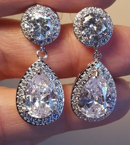 Rhodium Plated Tear Drop Cz Earrings