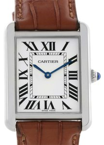 Cartier Cartier Tank Solo Large Stainless Steel Brown Strap Watch W1018355