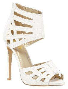 Yoki Platform Caged Spring White Sandals