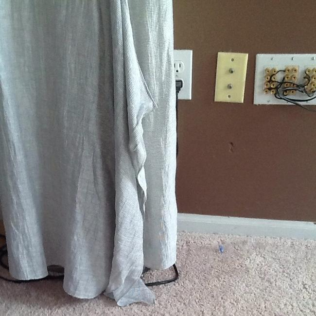 Item - White with Silver Stripes Linen Casual Maxi Dress Size 10 (M)