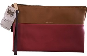 Coach Two-tone Day Or Evening Loganberry/Tan Clutch
