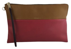 Coach Two-tone Day Or Evening Loganberry/ Tan Clutch