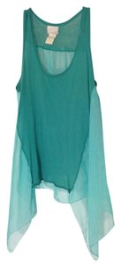 Other Teal Sheer Top Turquoise